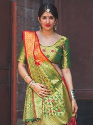 Green and Red Classic Saree