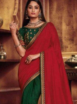 Green and Red Fancy Fabric Designer Half N Half Saree