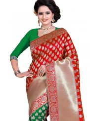 Green and Red Weaving Work Art Silk Traditional Designer Saree