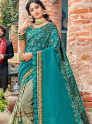 Green and Sea Green Patch Border Classic Saree