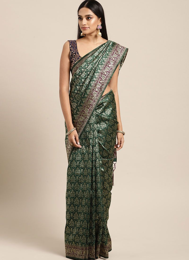 Green and Teal Weaving Art Silk Trendy Saree