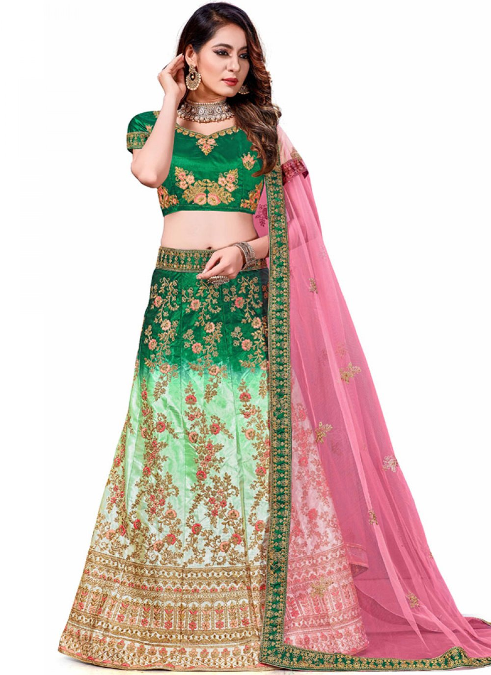 Green and Turquoise Festival Trendy Lehenga Choli