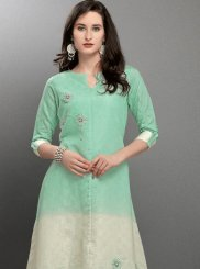 Green and White Viscose Thread Work Designer Kurti