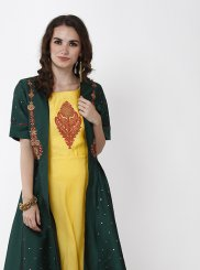 Green and Yellow Color Layered Designer Gown
