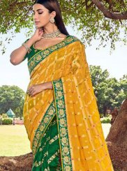 Green and Yellow Color Trendy Saree