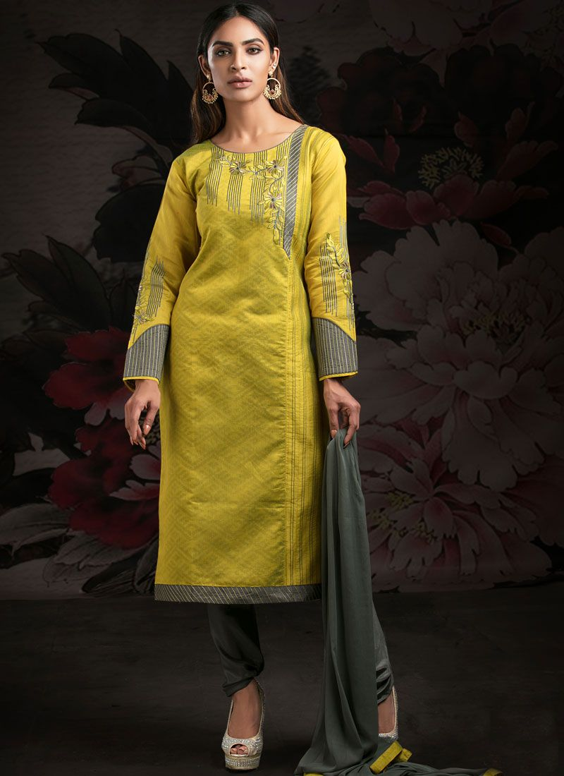 Green and Yellow Machine Embroidery  Churidar Suit