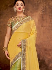 Green and Yellow Patch Border Bridal Half N Half  Saree