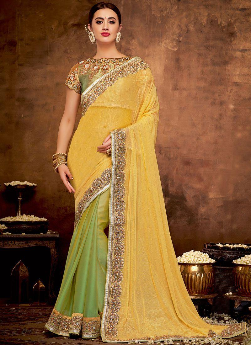 Green and Yellow Patch Border Bridal Half N Half  Saree