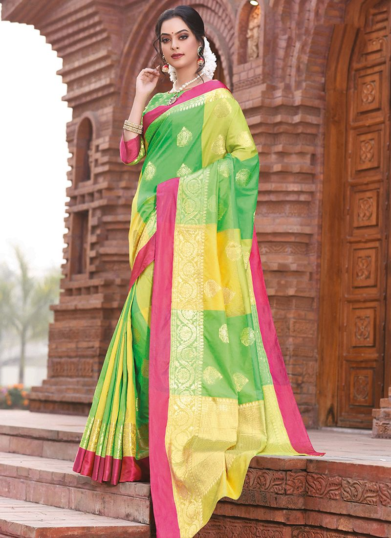 Green and Yellow Weaving Festival Designer Traditional Saree