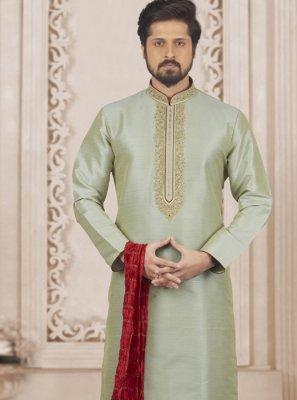 Green Art Banarasi Silk Mehndi Kurta Pyjama