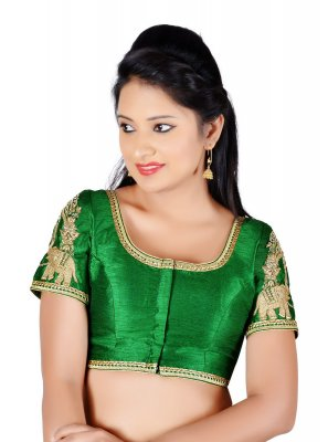 Green Art Dupion Silk Party Designer Blouse