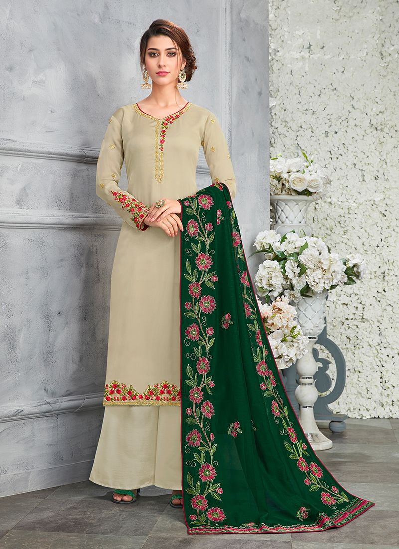 Green Art Silk Ceremonial Designer Pakistani Suit