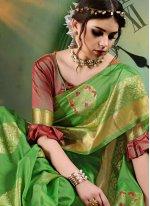 Green Art Silk Ceremonial Traditional Saree