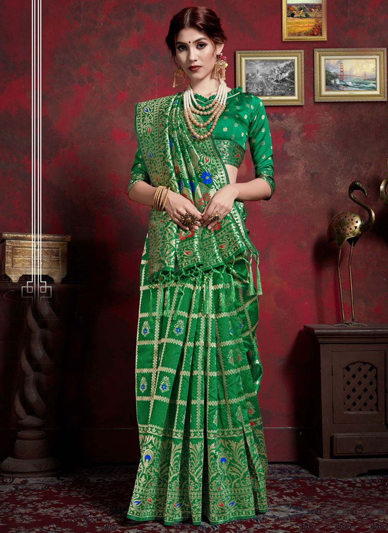 Green Art Silk Classic Saree