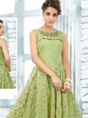 Green Art Silk Designer Gown