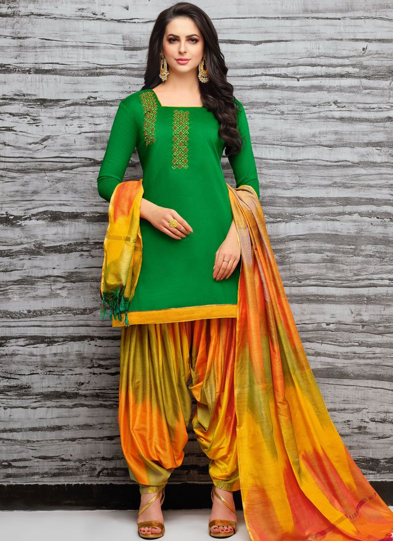 Green Art Silk Designer Patiala Suit