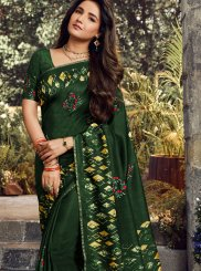 Green Art Silk Embroidered Classic Designer Saree
