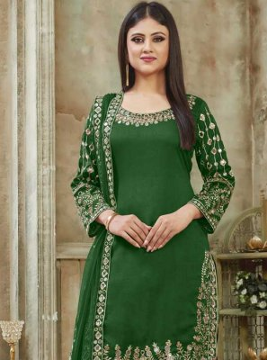 Green Art Silk Embroidered Designer Patiala Suit