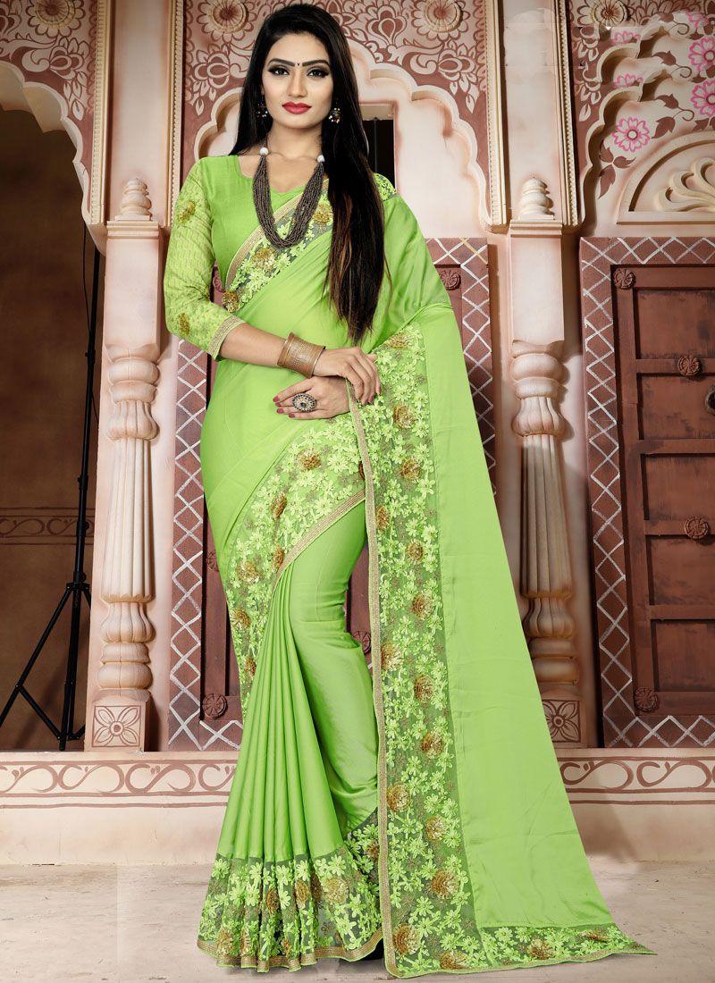 Green Art Silk Embroidered Designer Traditional Saree