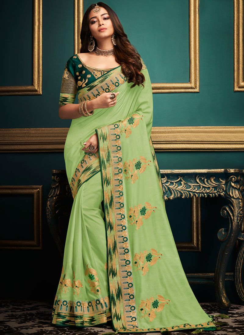 Green Art Silk Embroidered Traditional Designer Saree