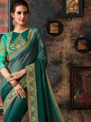 Green Art Silk Festival Shaded Saree