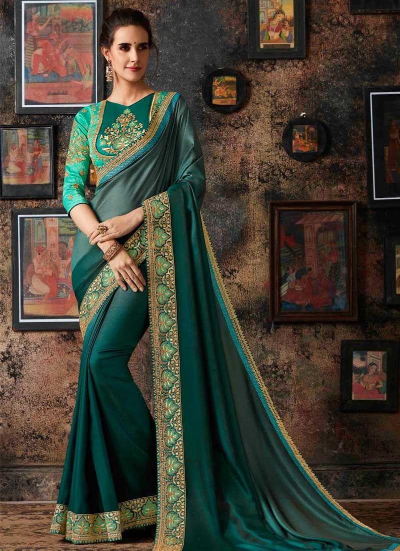 Green Art Silk Festival Shaded Saree