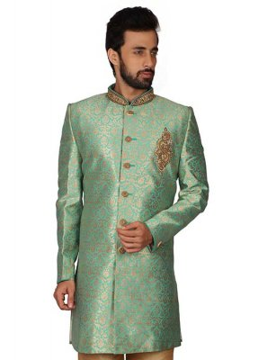 Green Art Silk Kurta Pyjama
