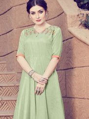 Green Art Silk Party Designer Kurti