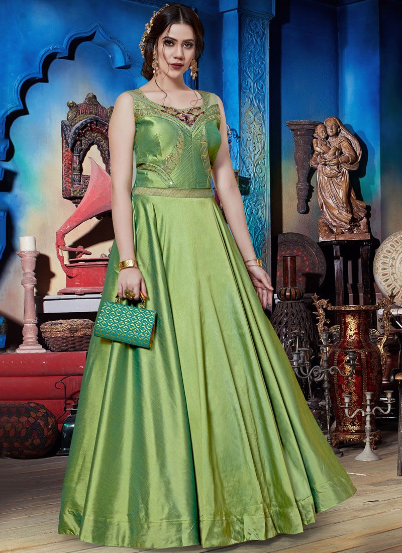 Green Art Silk Party Readymade Trendy Gown
