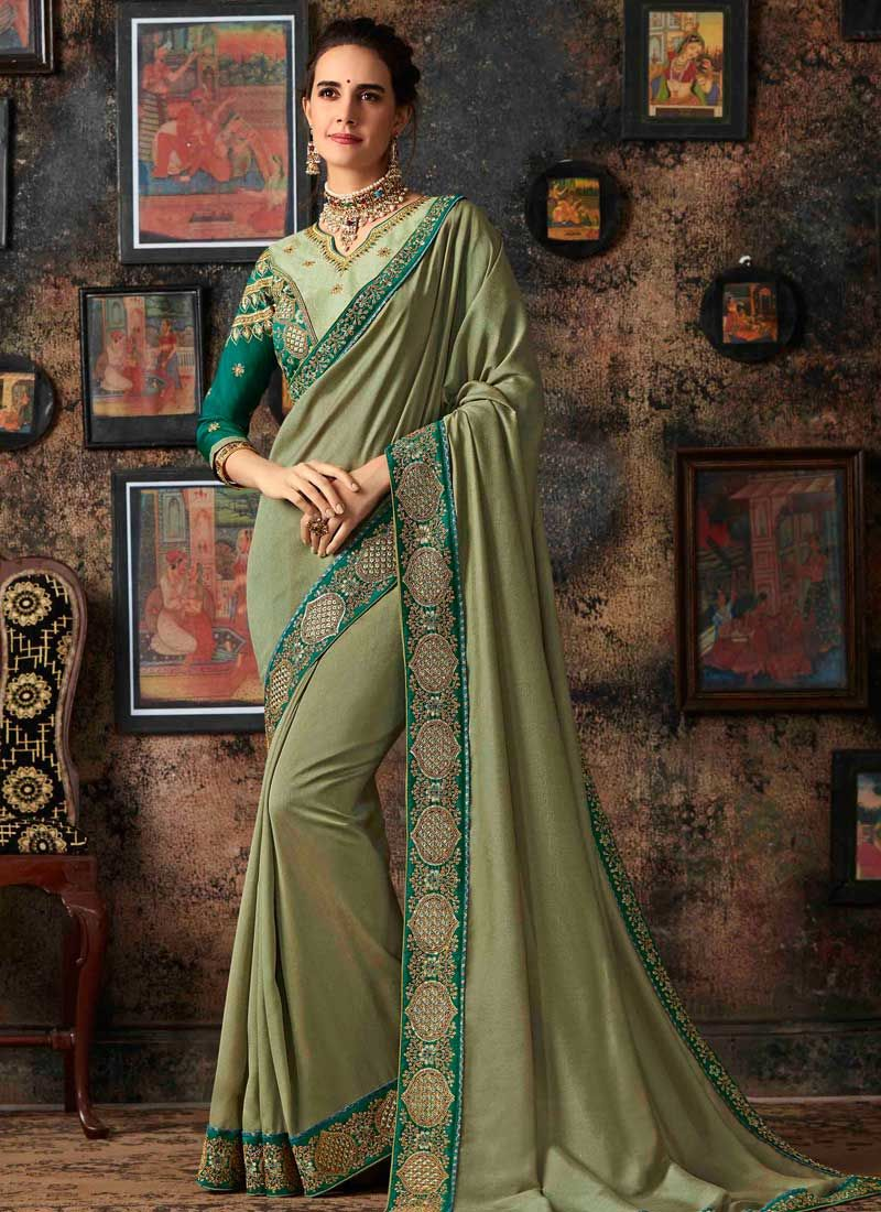 Green Art Silk Party Traditional Designer Saree