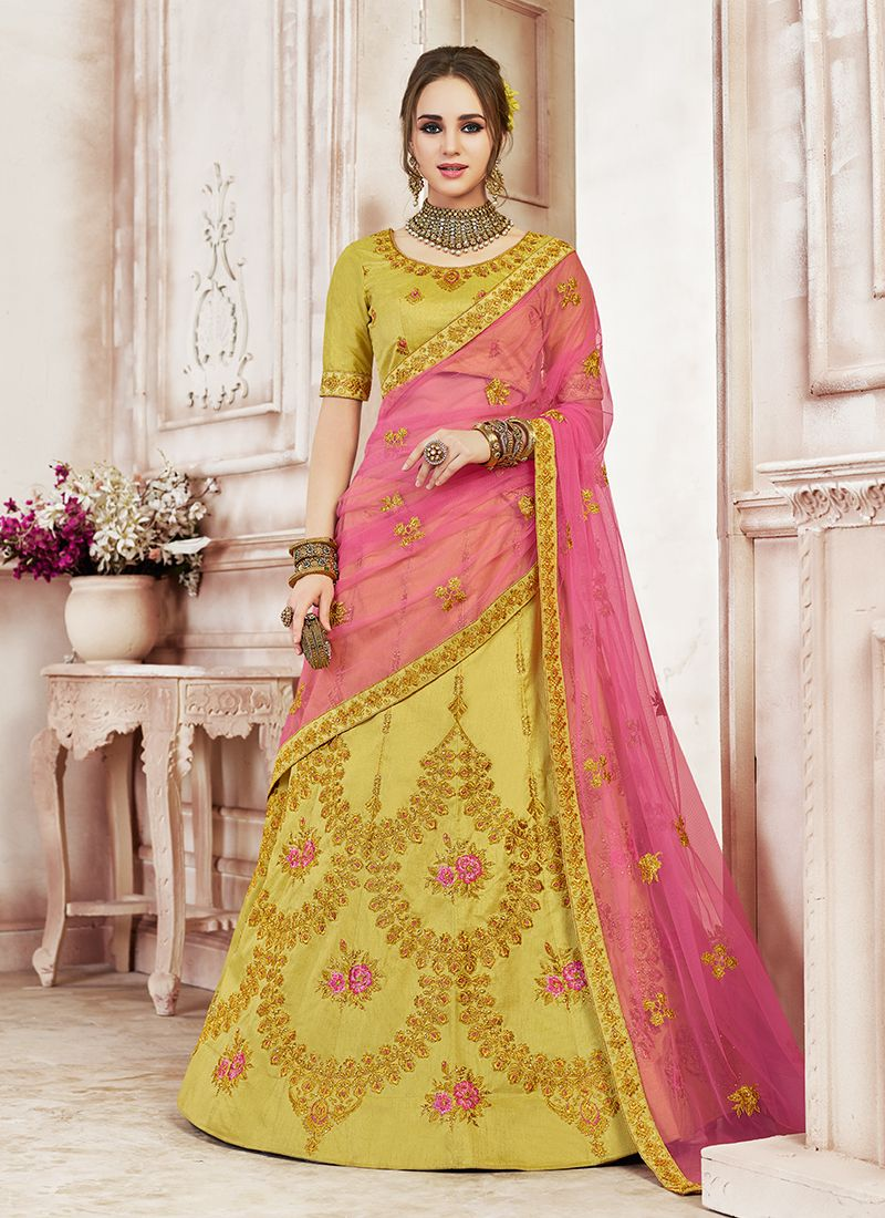 Green Art Silk Patch Border Designer Lehenga Choli