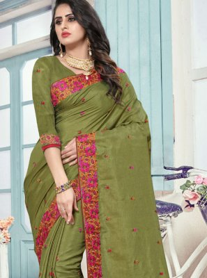 Green Art Silk Patch Border Traditional Saree