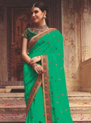 Green Art Silk Sangeet Designer Saree