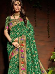 Green Art Silk Weaving Classic Saree