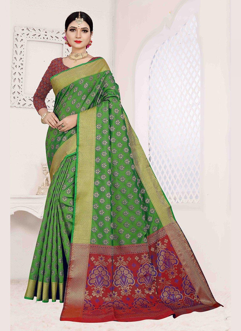Green Art Silk Weaving Traditional Designer Saree