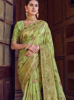 Green Art Silk Wedding Designer Traditional Saree