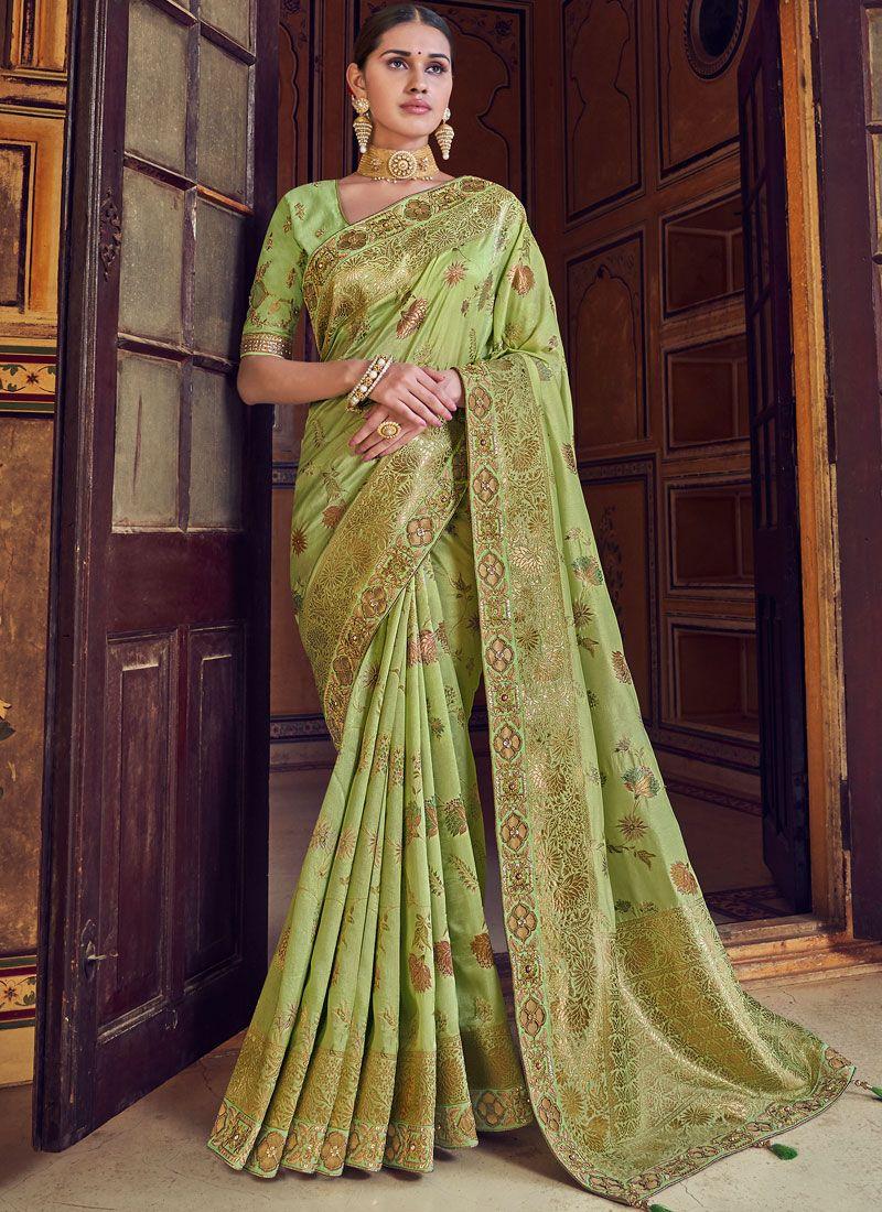 Green Art Silk Wedding Designer Traditional Saree