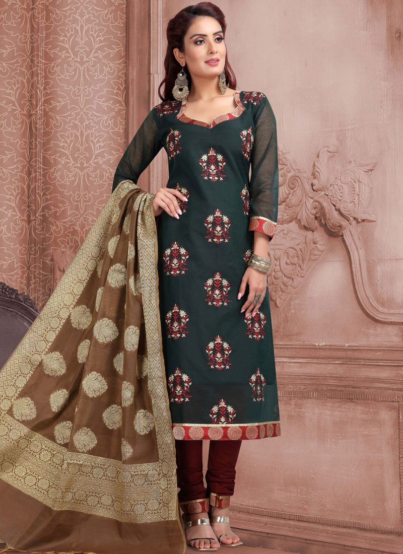 Green Banarasi Silk Churidar Salwar Suit
