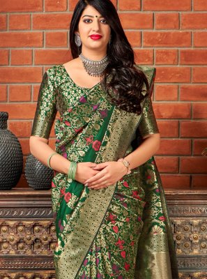 Green Banarasi Silk Trendy Saree