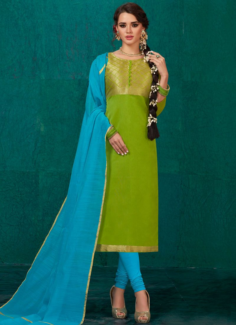 Green Banarasi Silk Weaving Churidar Salwar Kameez