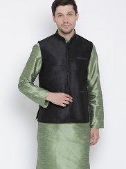 Green Blended Cotton Kurta Payjama With Jacket