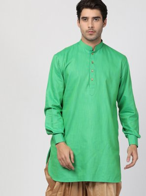 Green Blended Cotton Plain Dhoti Kurta
