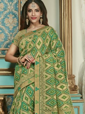 Green Brasso Festival Classic Designer Saree