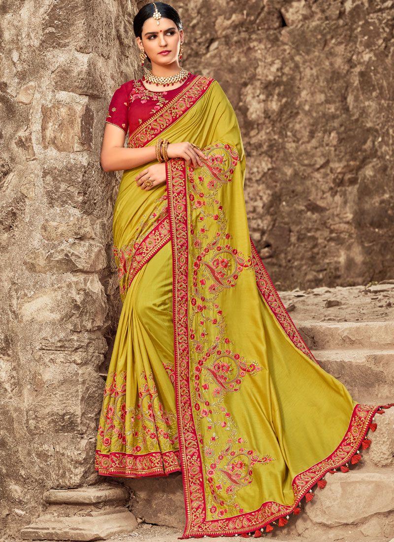 Green Bridal Art Silk Designer Traditional Saree