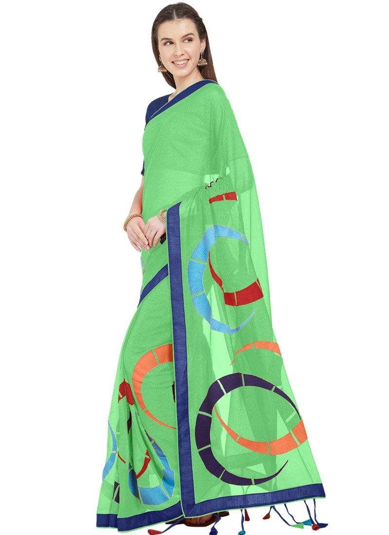 Green Casual Printed Saree
