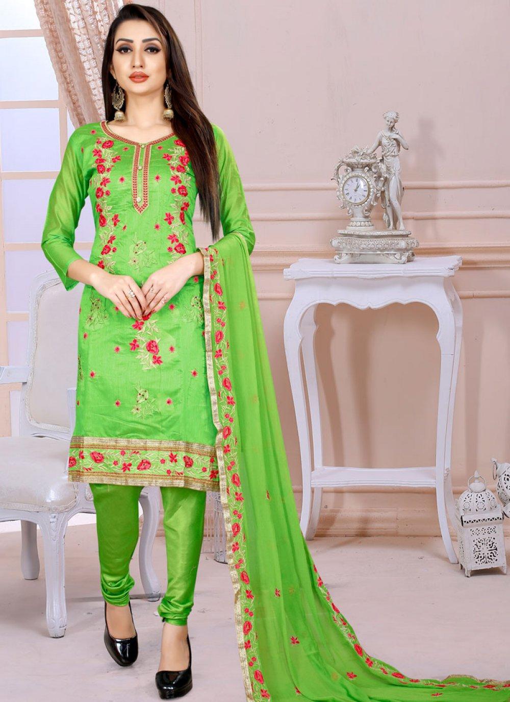 Green Ceremonial Chanderi Churidar Designer Suit