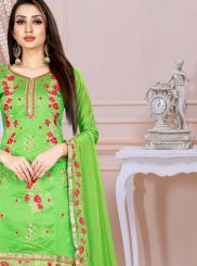 Green Ceremonial Chanderi Churidar Designer Suit