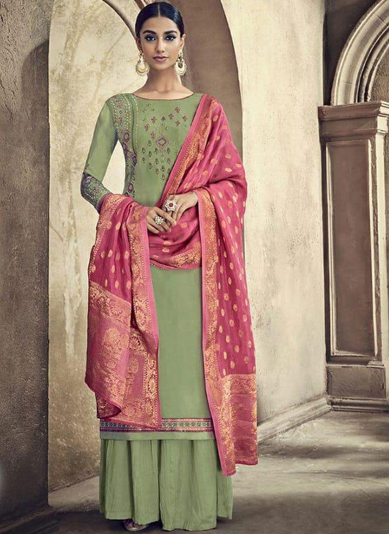 Green Ceremonial Designer Palazzo Suit