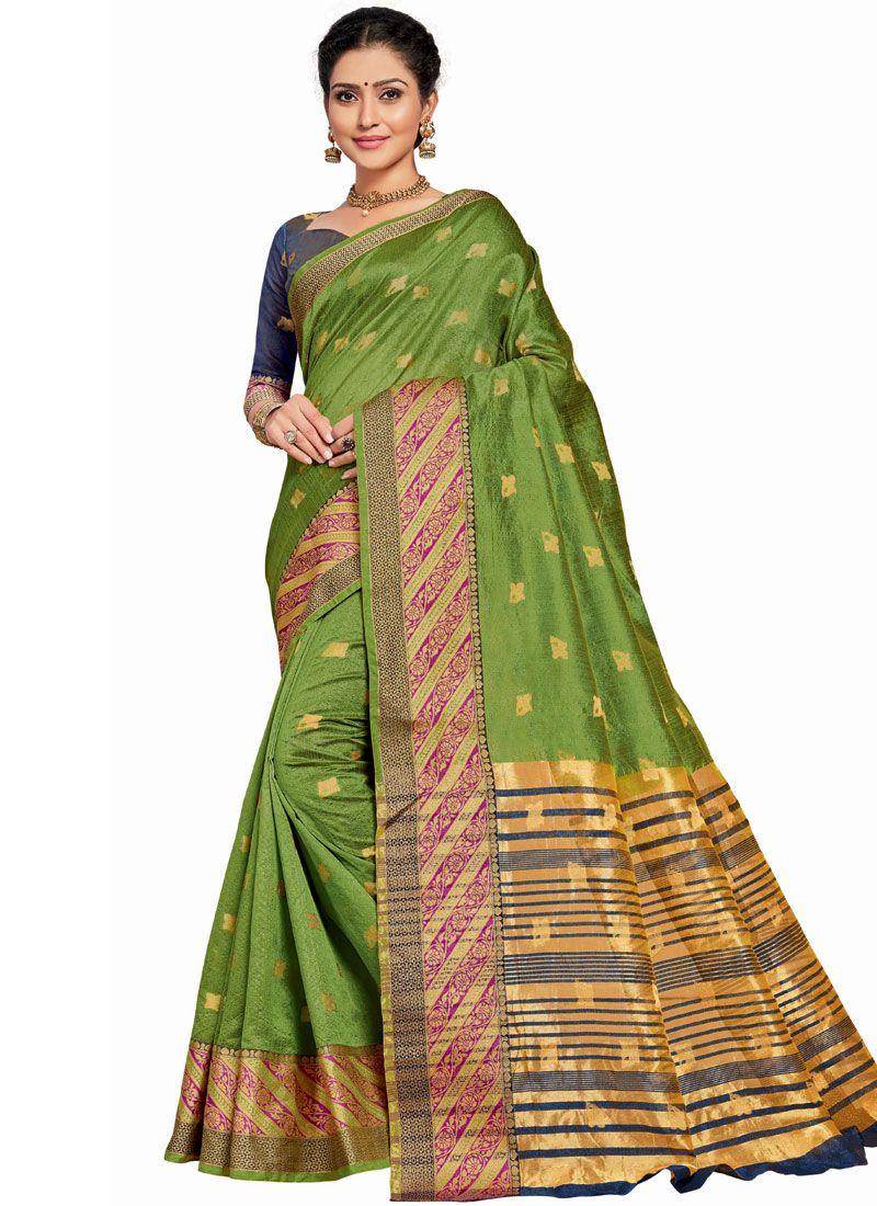 Green Ceremonial Traditional Designer Saree
