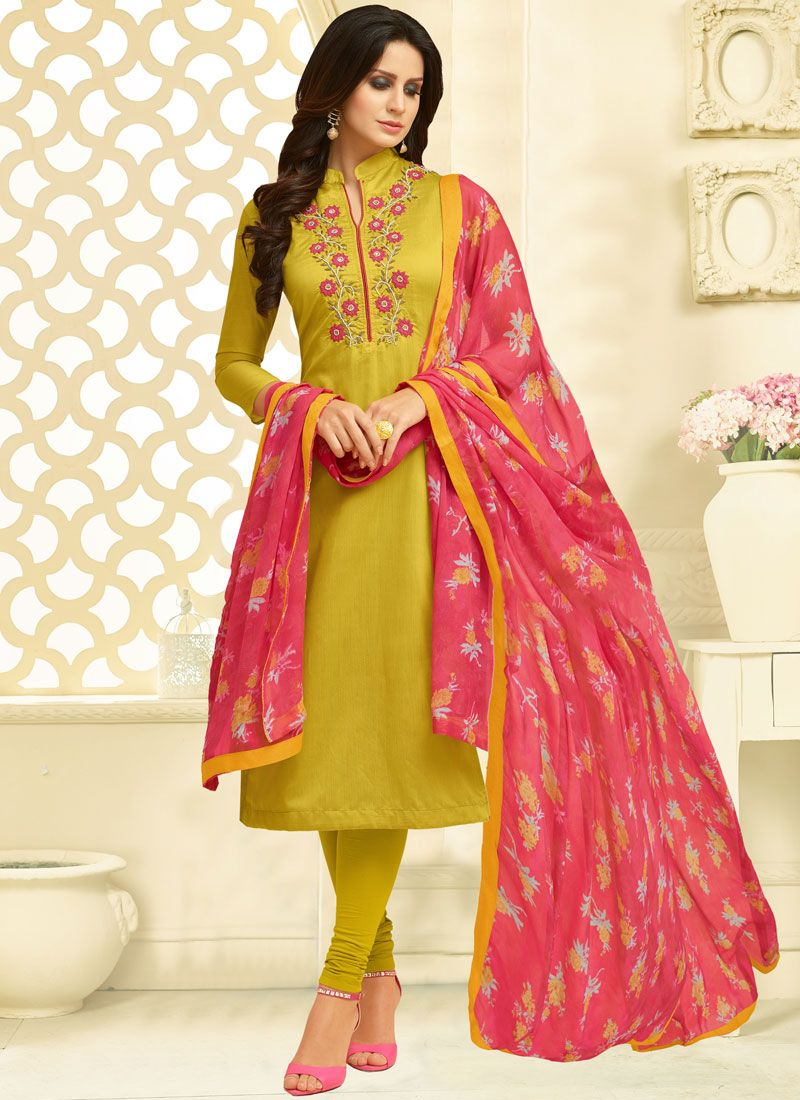 Green Chanderi Cotton Casual Churidar Suit